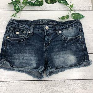 Wallflower jewel american flag stretch jean shorts